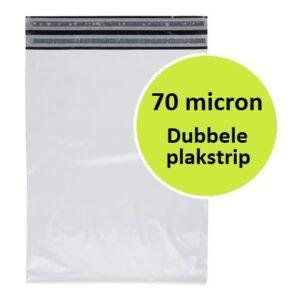 Plastic verzendzak - 70 micron - dubbele plakstrip